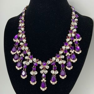 Charter Club Gold Purple Crystal Drama Necklace